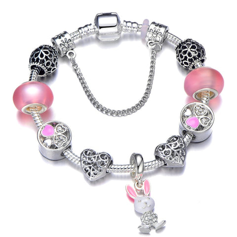 Queen Jewelry Silver Color Charm Bracelets Women Enamel Beads
