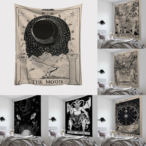 1 Pc Tarot Card Tapestry Wall Hanging Astrology Divination Bedspread Beach Mat