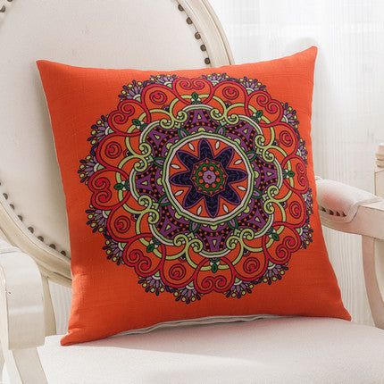 JKKMart Mandala Classic Vintage Mediterranean Cushion Cover Pillow Case Cotton Linen Pillows Decorative Throw Pillowcase Home Type 3 / 45x45cm,  - JKK Mart, JKK Mart - 3