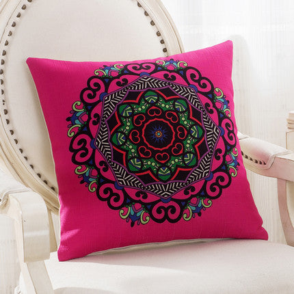 JKKMart Mandala Classic Vintage Mediterranean Cushion Cover Pillow Case Cotton Linen Pillows Decorative Throw Pillowcase Home Type 6 / 45x45cm,  - JKK Mart, JKK Mart - 18
