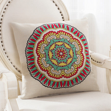 JKKMart Mandala Classic Vintage Mediterranean Cushion Cover Pillow Case Cotton Linen Pillows Decorative Throw Pillowcase Home Type 7 / 45x45cm,  - JKK Mart, JKK Mart - 15