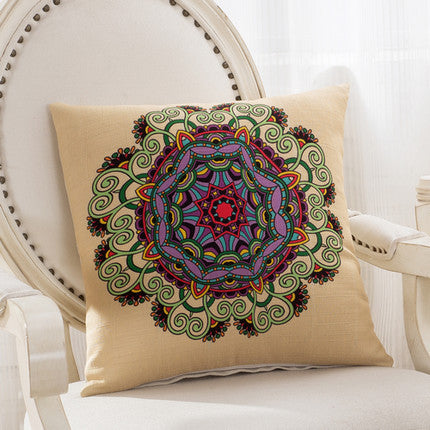 JKKMart Mandala Classic Vintage Mediterranean Cushion Cover Pillow Case Cotton Linen Pillows Decorative Throw Pillowcase Home Type 8 / 45x45cm,  - JKK Mart, JKK Mart - 9