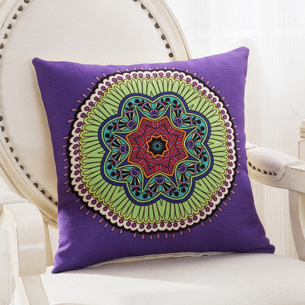 JKKMart Mandala Classic Vintage Mediterranean Cushion Cover Pillow Case Cotton Linen Pillows Decorative Throw Pillowcase Home Type 9 / 45x45cm,  - JKK Mart, JKK Mart - 19