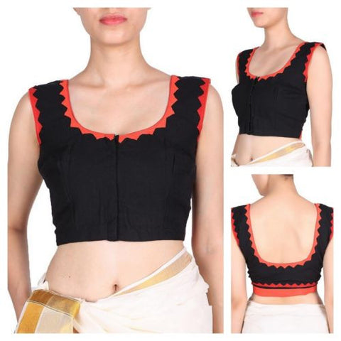 Black & Red Blouse Stitched Tailoring Handmade Choli Saree Blouses Ready - JKK Mart