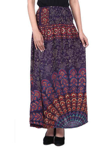 Women's Indian Ethnic Printed Rayon Long Skirt Casual Skirts Fashion Pregnancy - JKK Mart