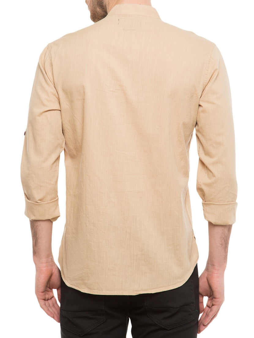Mens Cotton Kurta Traditional Casual Ethnic Beige Gift Shirt Top Indian Sleeves - JKK Mart