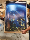 Detailed Earth. Europe. Scandinavia on a moonlit night - Plakatbar.no
