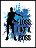 Floss Like A Boss Blue Splash Poster - Plakatbar.no
