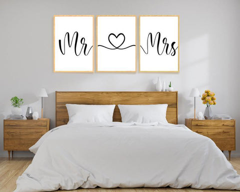 Mr & Mrs - 3 stilfulle plakater - Plakatbar.no