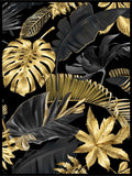 Tropical Leaves Poster - Black Gold - Plakatbar.no