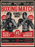 Vintage Boxing Match Poster - Plakatbar.no