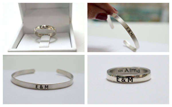 Sterling Silver bracelet & Ring, Name ring, silver ring, Stackable Ring, Personalized Name Ring, design ring
