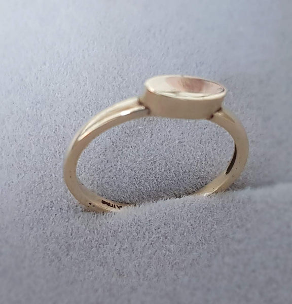 ellipsoid gold ring, 14K gold Ring, Stackable Ring, Personalized Ring, Simple ring, Delicate ring