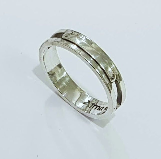 Sterling Silver Men Ring, Name ring, silver ring, Personalized Ring, design ring - AlmaJewelryShop Online boutique for gold and silver jewelry
