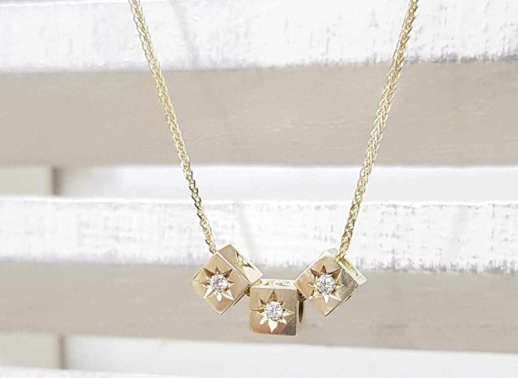 Diamond Solitaire Name Necklace in 14k Solid Gold geometric diamond gold necklace - AlmaJewelryShop