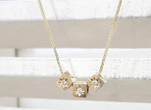 Diamond Solitaire Name Necklace in 14k Solid Gold geometric diamond gold necklace - AlmaJewelryShop Online boutique for gold and silver jewelry