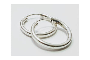 Hoop Earrings Round Silver Earrings, Gypsies earrings, Sterling Silver earrings - AlmaJewelryShop