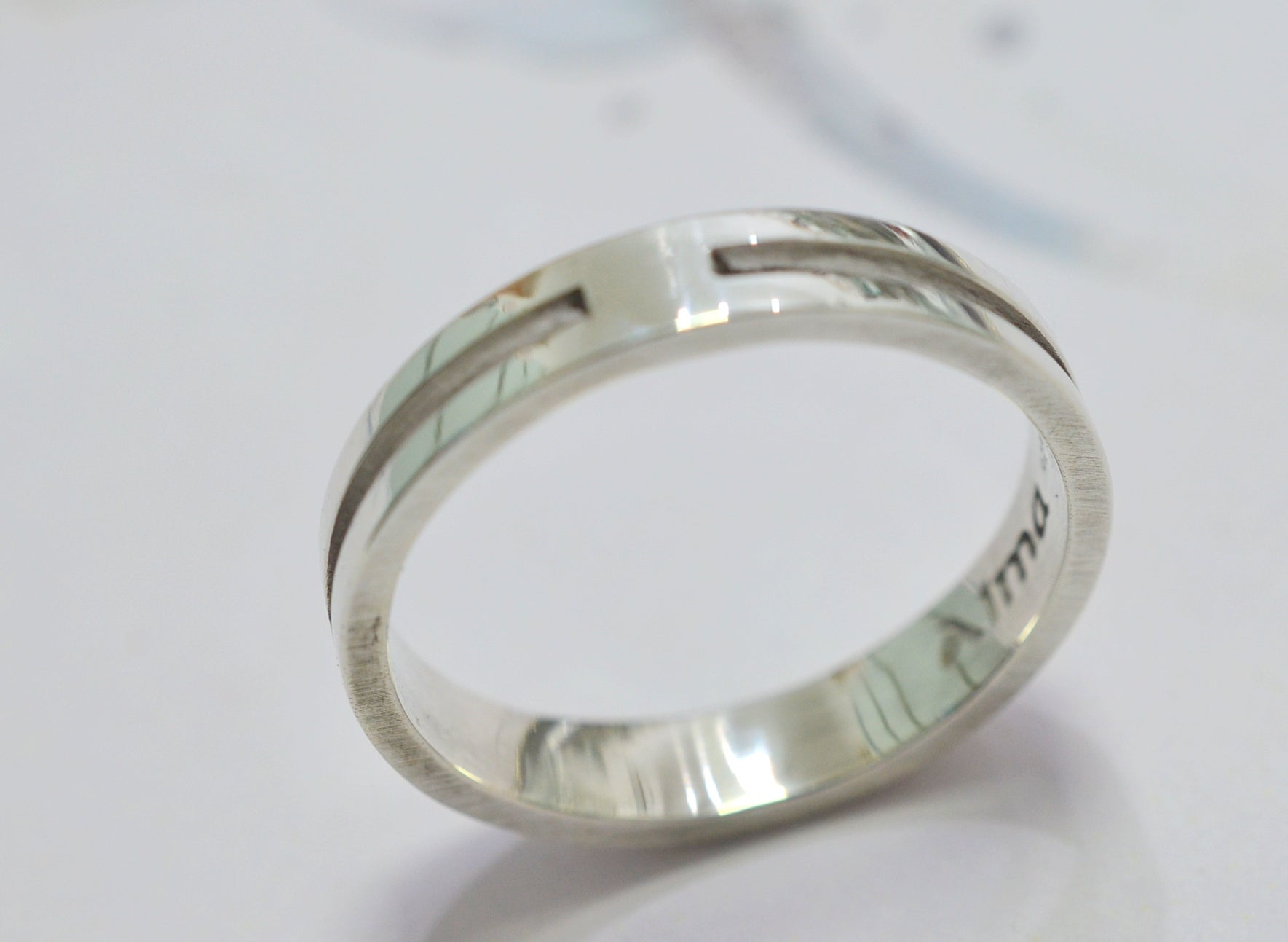 Men Simple Ring, Sterling Silver Wave Ring, Name ring, silver ring, Personalized Ring, design ring - AlmaJewelryShop