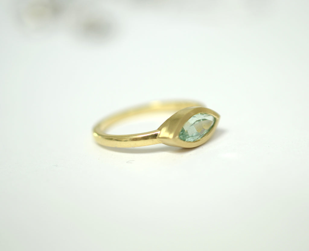 Aquamarine marquise gold ring. Marquise gold Ring, Personalized Ring, Delicate ring, 14K gold Ring, - AlmaJewelryShop Online boutique for gold and silver jewelry