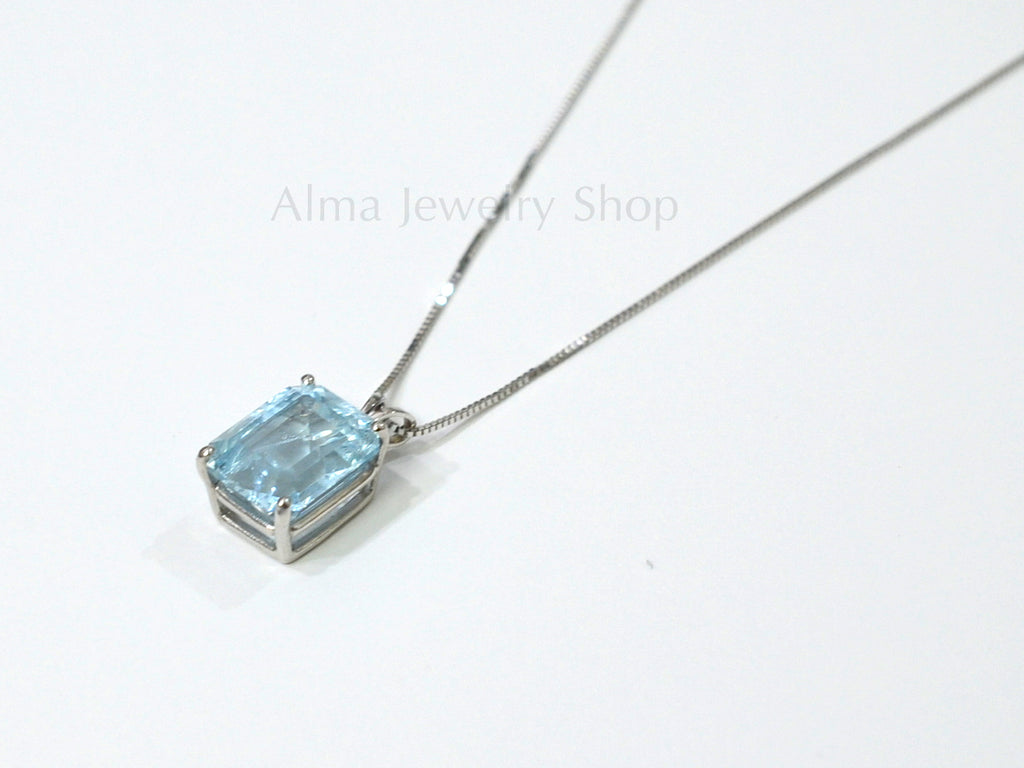 Delicate Aquamarine Pendant with white 14K Gold necklace - AlmaJewelryShop