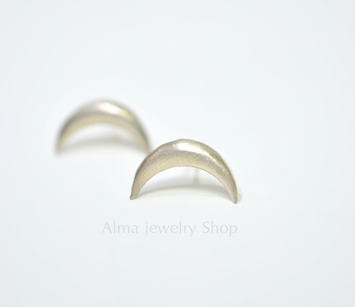 Silver Earrings, moon shape earring, sterling silver - AlmaJewelryShop