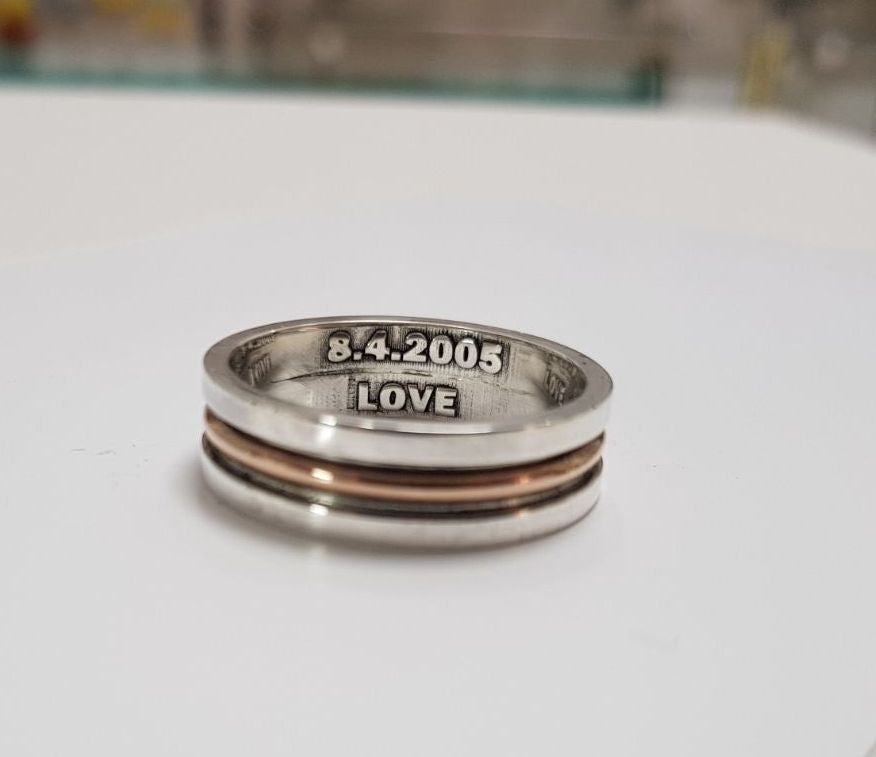 Rose Gold & Sterling Silver Men Ring, Name ring, silver ring, Personalized Name Ring, design ring - AlmaJewelryShop Online boutique for gold and silver jewelry
