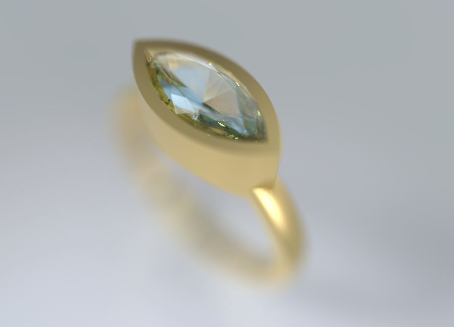 Aquamarine marquise gold ring. Marquise gold Ring, Personalized Ring, Delicate ring, 14K gold Ring, - AlmaJewelryShop