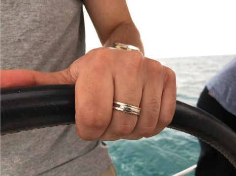 Men ring, Masculine ring, Sailor ring, Skipper ring