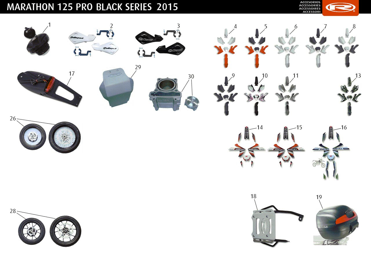 Marathon 125 Pro 2015 Black Series Accessories