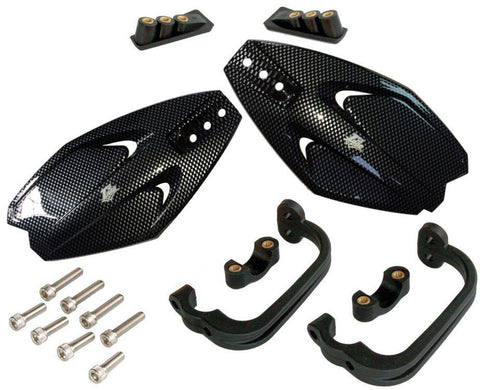 Carbon Plastic Handguards with Plastic Brackets