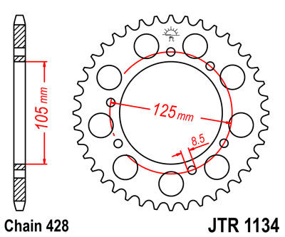 JTR-1134 Rear Drive Sprocket - 54 Teeth