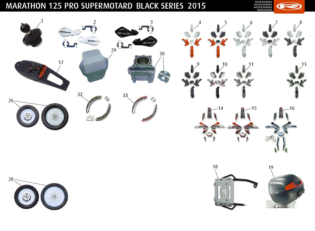 Marathon 125 Pro SM 2015 Black Series Accessories