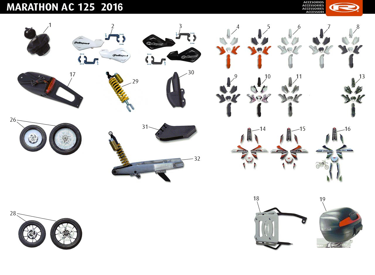 Marathon 125 AC Red 2016 Accessories