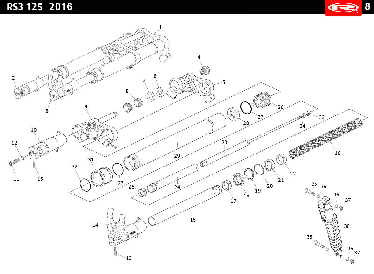 Technical diagram for a RS3 125 Suspension