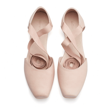 Ana, blush pink leather ballerina shoes