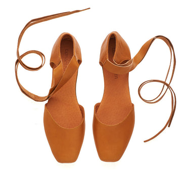 Caramel brown Ana, leather ballerina shoes
