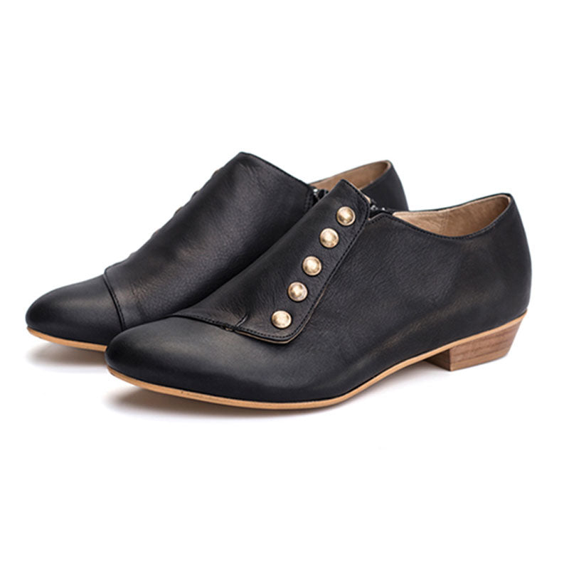 black leather flats round toe