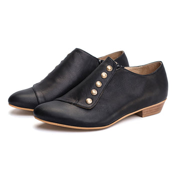 Black leather womens shoes