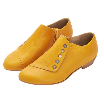Grace, Yellow shoes, handmade, flats, leather