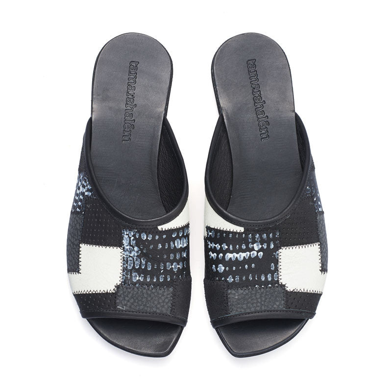 Helena slide ins, black leather flat sandals