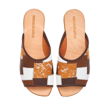 Helena slide ins, brown textured leather flat sandals