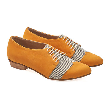 Polly Jean, Yellow, Pepita, oxford shoes