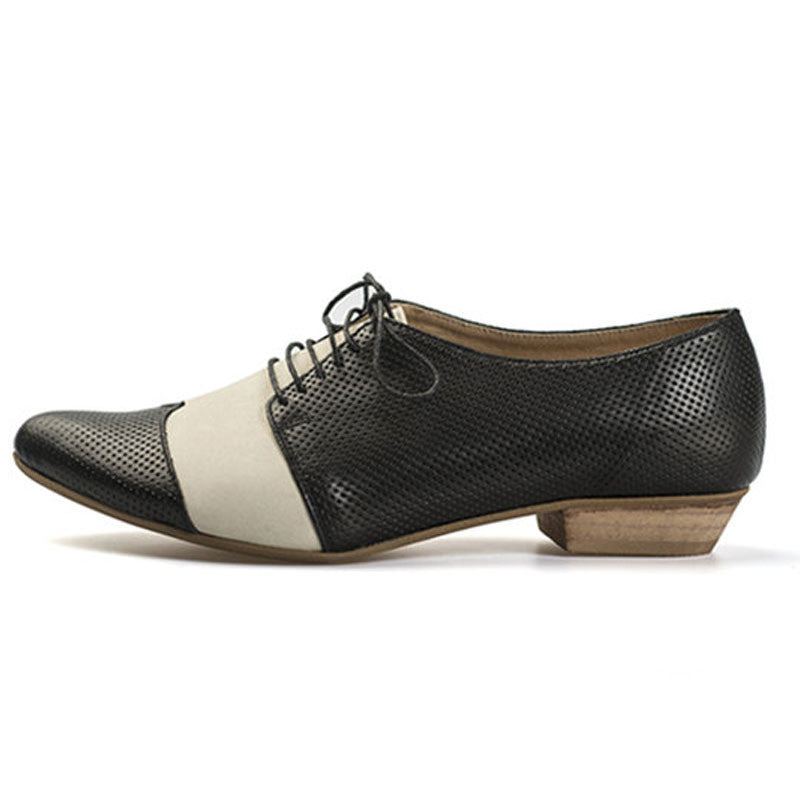 Polly Jean, B&W  Handmade leather oxford shoes