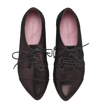 Polly jean leather oxford shoes in shiny purple pattern