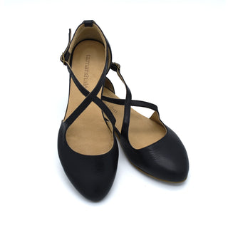 Camila black leather summer flats