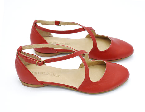 Camila red leather summer flats