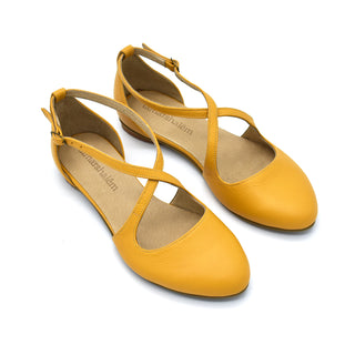 Camila yellow leather summer flats