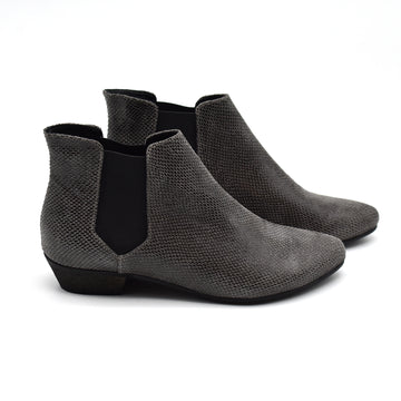 Gray snake patterned Chelsea boots