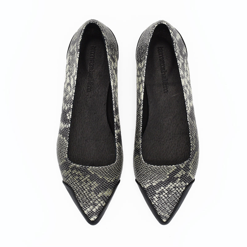 Pointed toe slip ons, Bree in green snake pattern.