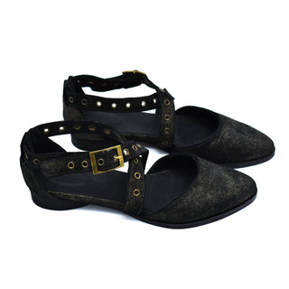 Black leather buckle closure flat sandals, Harper